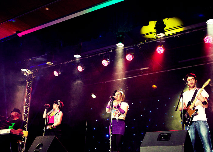 Into The 80s tribute band on stage